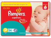 FRALDA PAMPERS BASICA SUPERSEC P 34un PACOTAO