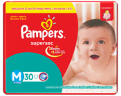 FRALDA PAMPERS BASICA SUPERSEC M 30un PACOTAO