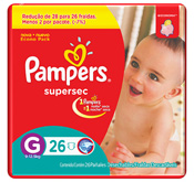 FRALDA PAMPERS BASICA SUPERSEC G 26un PACOTAO