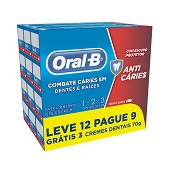 CREME DENTAL ORAL-B 123 LEVE 12 PAGUE 9 UN  70GR