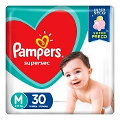 PAMPERS BASICA SUPERSEC M 30UN PACOTAO