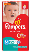 FRALDA PAMPERS BASICA SUPERSEC M 52UN HIPER