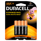 PILHA DURACELL AAA PALITO C/4